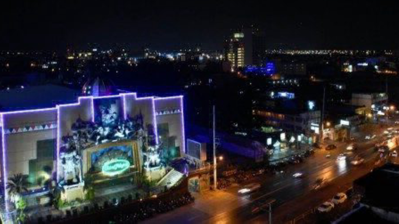 Aerial shot of Casino Filipino in Angeles City, Philippines.