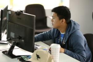 A photo of a Salesforce developer on duty.